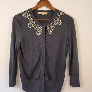 Ann Taylor LOFT gray cardigan with embellishments
